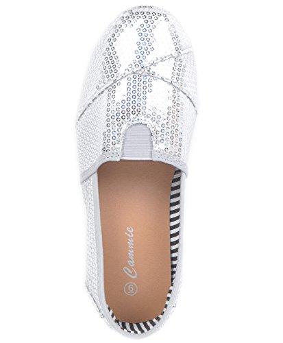 Femmes Toile Séquence Chaussures Argent
