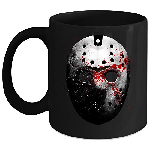 Friday the 13th Jason Voorhees Mask Mug, Halloween Cup (Coffee Mug 11 Oz - Black) -
