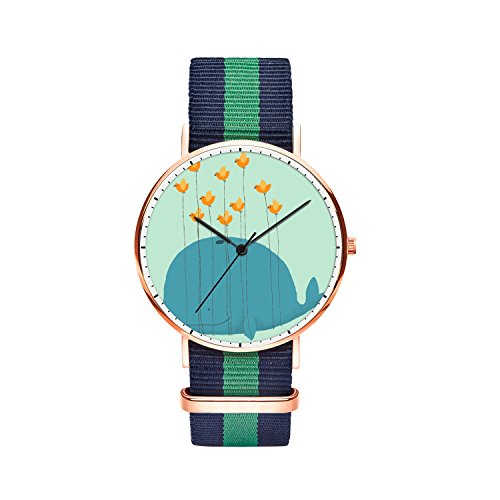 Immersion Whale (Men 40mm Stainless Steel Rose Gold Classic Quartz Whale Comics Watch Blue Green Blue Nylon Replaceable Multi-Color Striped Nylon Band)