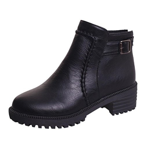 Heel Women HLHN Mid Shoes Buckle Autumn Leather Black Ladies Boots Vintage Boots Martin Block Ankle 00Ydqr