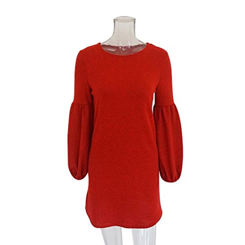 Flurries Women Dress, Fashion Sexy Women Camisole Long Sleeve O-Neck Loose Pleated Mini Dress Fashion Dress (L, Orange) by Flurries
