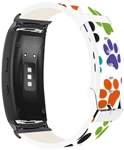 Bands for Gear Fit2 Pro & Compatible Leather Strap for Samsung for Galaxy Gear Fit 2/Fit2 Pro Bands Black Connectors Colorful Creative Cute Personalized Pattern Design