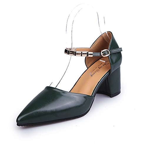 with Women's Tide Dark Versatile with 37 yalanshop Stylish Shoes with Baotou Thick Heeled and Green High Package nUvxFR