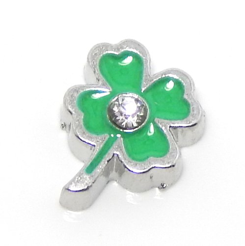Pro Jewelry Floating Mini Charms for Floating Locket (4-Leaf Clover w/ Crystal) - Silver 9mm Cute Leaf Charms