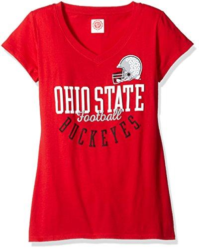 J America NCAA Ohio State Buckeyes Women's Football Essential Tee, Medium, Red