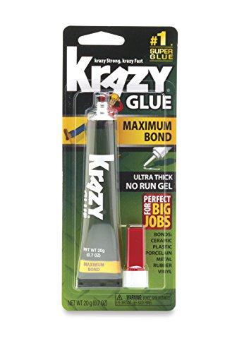 Krazy Glue Maximum Bond Super Glue, No-Run Gel, 20 (Gel Vinyl Glue)