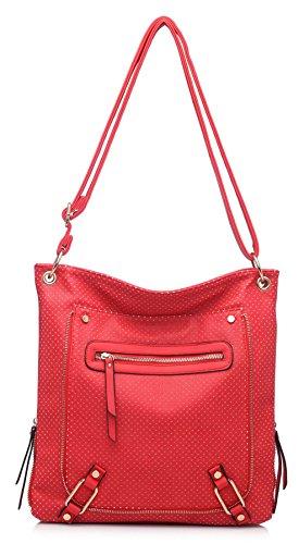 BHBS Bolso de Hombro para Dama tipo Mensajero con Detalle de Cremallera en el Frente y Bolsillo Frontal con Cremallera 38x25x10 cm (LxAxP) Rojo (Ll462)