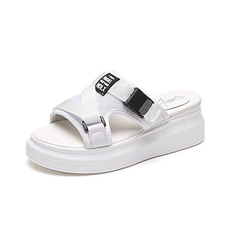 Dicken Schwamm Kuchen aus dem im Sommer tragen und vielseitige stilvolle Hausschuhe cool ziehen und Frauen Schuhe Sandalen, 35, Weiß
