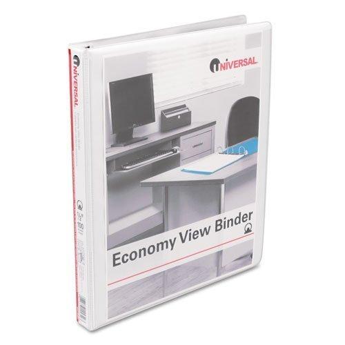 1/2 Capacity White Binders - 12 Universal Round Ring Economy Vinyl View 3-Ring Binders, 1/2 Capacity, White, EA - UNV20952
