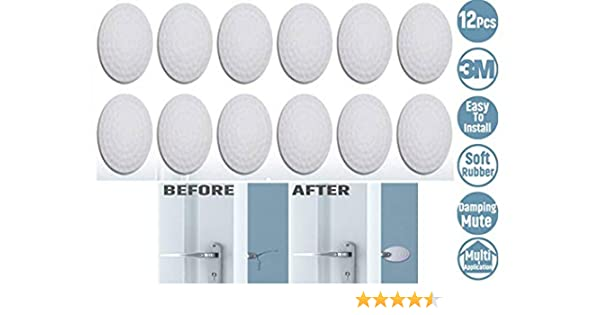 Phinacan 6PCS Silicone Door Wall Protector Self Adhesive Door Knob Stopper Bumper Pads Set 3M Sticker Strong Stickiness Handle Guard 1.57 Inch, White