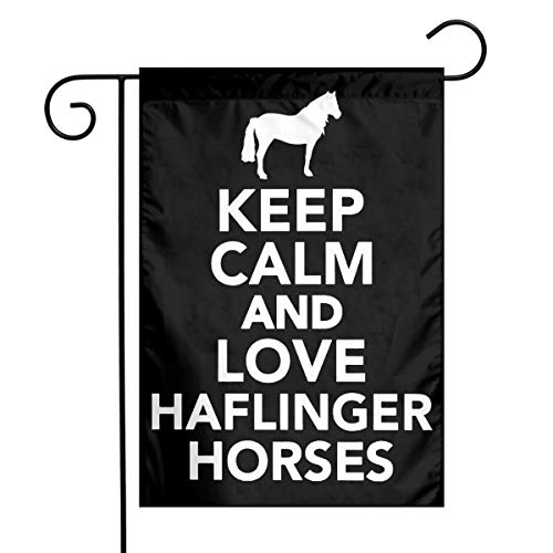 (HU7 JDOS7 Keep Calm and Love Haflinger Horses Garden Flag House Banner for Party Yard Home Outdoor Decor)