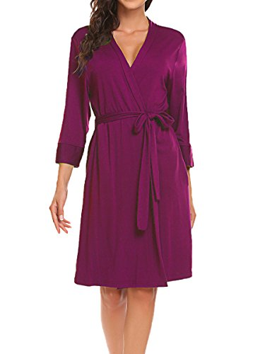 Short Sheer Jersey Ladies - BLUETIME Women Robe Soft Kimono Robes Cotton Bathrobe Sleepwear Loungewear Short (XL, Rose Red)