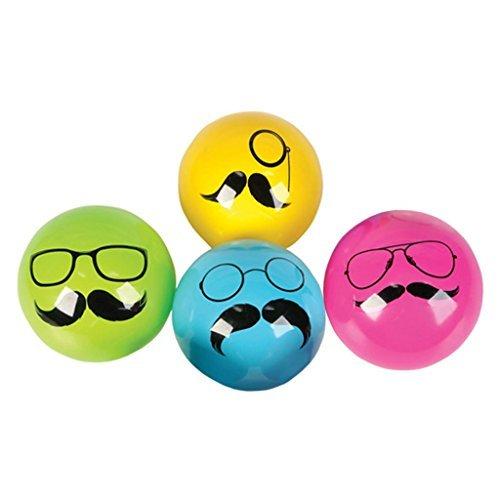 - Mustache Vinyl Balls (4 Per Order Random Colors)