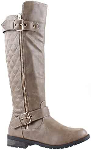 Forever Mango-21 Women's Winkle Back Shaft Side Zip Knee High Flat Riding Boots Taupe 8.5