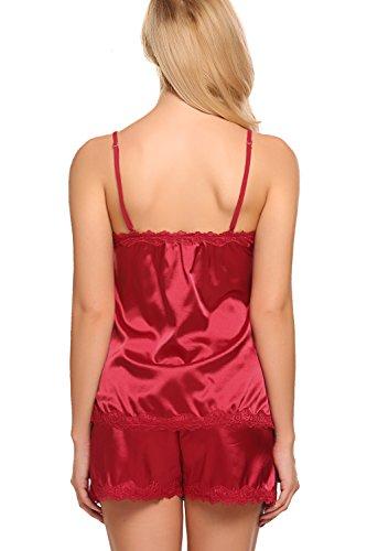 ADOME Womens Camisole Short Set 2 Pieces Satin Pajamas Irregular Chemise Sleepwear,Style 1:dark Red,XX-Large by ADOME (Image #6)