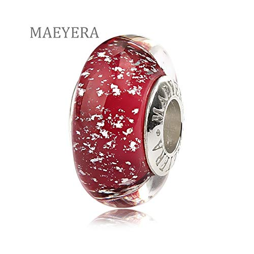 Calvas 925 Sterling Silver Lampwork Beads Silver Sand Pink Murano Glass Beads for European Charm Bracelet Jewelry 920272