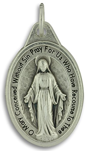 Miraculous Medal Charm (Bulk Buy 10 Pcs - Miraculous Medal 1 Inch Lot of 10 Medals Rings Included - Mary Our Lady of Grace)