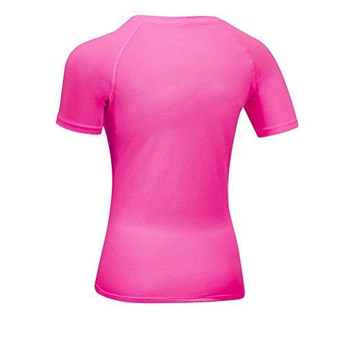 Bmeigo Mujer Exercise manga corta Base Layer T-Shirt con efecto de compresión y función de secado rápido Rose