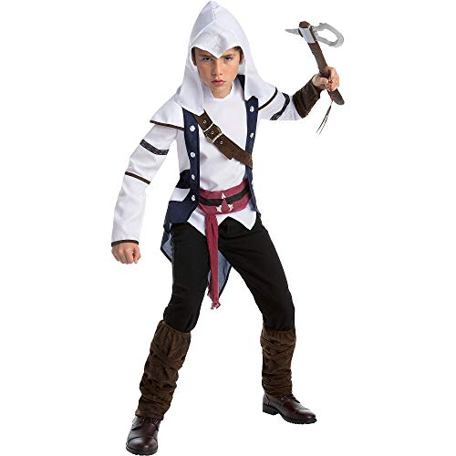 AFG Media Ltd Assassin's Creed Connor Costume for Boys, Size Extra-Large, Includes a Tunic, a Hood, and Boot Covers