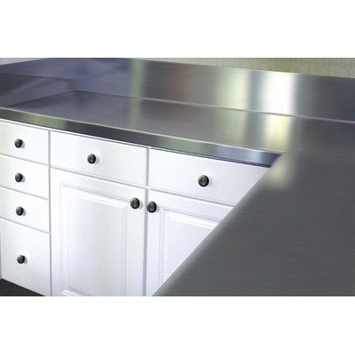 Stainless steel counter top with blacksplash size 13 h x for Stainless steel countertops cost per sq ft