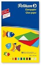 Pelikan 137935 - Papel de color brillante engomado para trabajos creativos 10 hojas, hecho en Alemania, excelente para collages escolares y trabajos creativos