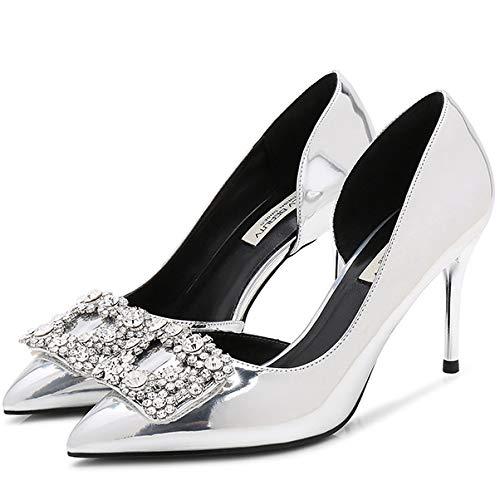 Slip De Mujer Zpffe On Talon Boda Silver Medio Pump Alto Tacon Elegante Corte Zapatos La Punta w500gdq
