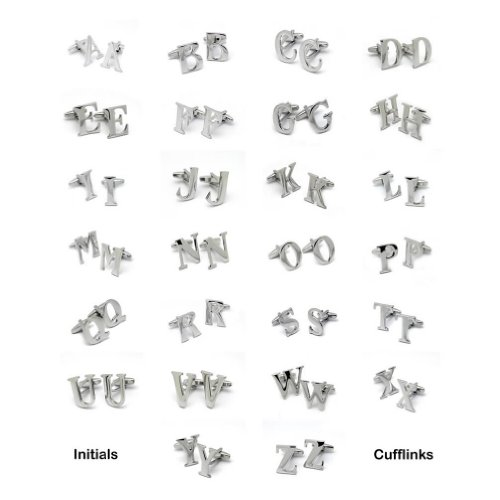Personalized Silver Tone Initial Cufflinks