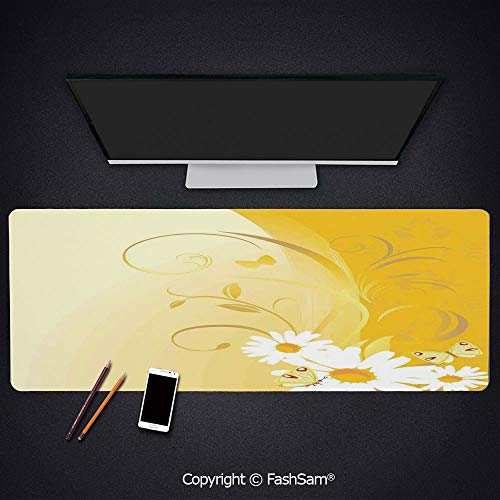 - Extended Large Mouse Pad Swirling Curving Chamomile Flowers with Flying Butterflies Nature Style Summer Decor Decorative Keyboard Pad for Office Desktop(W35.4xL15.7)