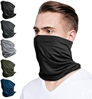 LUNGEAR 5 Pack Bandanas Neck Gaiter for Men and Women Scarf Balaclava for Cycling Outdoor Black