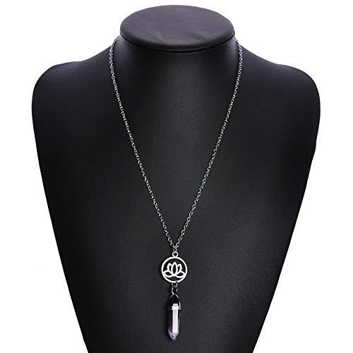Mikash Natural Quartz Crystal Stone Point Healing Pendant Yoga Chakra Necklace Jewelry | Model NCKLCS - 39990 |