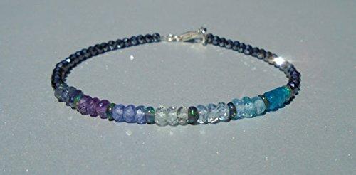 Aquamarine, Apatite, Tanzanite, Amethyst, Iolite Bracelet, Ethiopian Opal, Dainty Beaded Bracelet, Mystic Black Spinel, Ombre Bracelet 3 ~ 3.5 mm