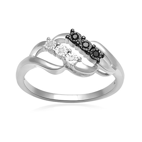 - Jewelili Sterling Silver Black and White Diamond Accent Swirl Ring, Size 7