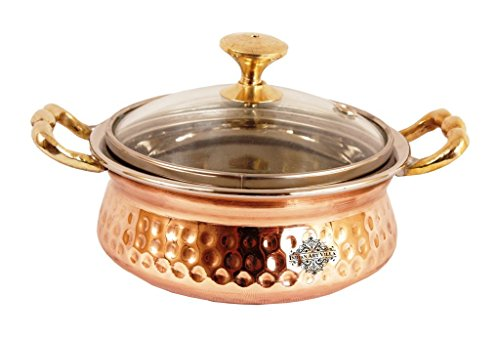 IndianArtVilla Hammered Steel Copper Casserole Donga with Glass Lid, Serveware & Tableware, 13 OZ ()