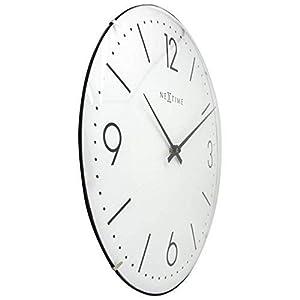 "NeXtime Reloj de pared ""BASIC DOME"", muy silencioso, redondo, blanco, ø 35 cm 10"