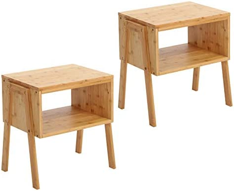 SONGMICS Set of 2 Bamboo Nightstand, Side End Table, Coffee Couch Console Table with Open Front Storage Compartment, 100 Sturdy Bamboo Wood Natural ULNT45N