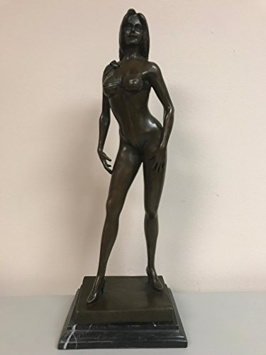 Bronze Brass Art sex decorations for bedroom - SEXY TIED UP RIBBON AROUND NAKED GIRL - MODELING GIRL - FIT GIRL - TEASING YOU - AMAZING BODY STATUS - REAL BRONZE - female statue