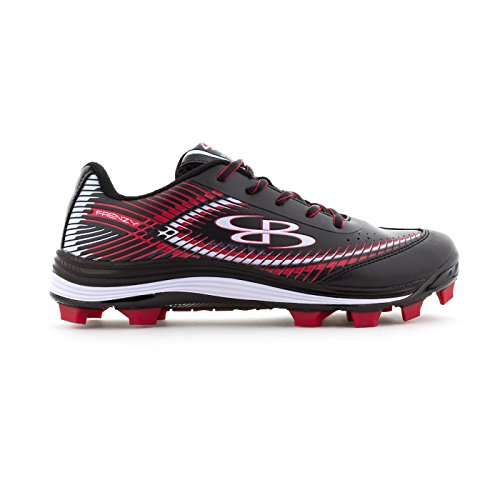 Boombah Women's Frenzy Molded Cleats Black/Red - Size 7.5