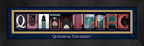 - College Campus Letter Art Quinnipiac University Quinnipiac Bold Print Framed Posters 22x6 Inches