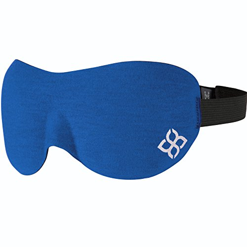 Sleep Mask by Bedtime Bliss - Contoured & Comfortable with Moldex Ear Plug Set. Includes Carry Pouch for Eye Mask and Ear Plugs - Great for Travel, Shift Work & Meditation (Blue) (Bliss Mask)