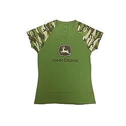 John Deere Women's Camo V Neck Raglan Short Sleeve T-Shirt-Large