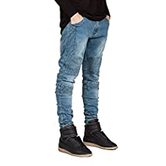 Great For Party, Daily, Beach, I Am Sure You Will Like It!Item Type:JeansGender:MenMaterial:DenimClosure Type:Zipper FlyPattern Type:SolidThickness:MidweightWaist Type:MidStyle:Moto & BikerJeans Style:StraightFabric Type:SoftenerLength:Fu...