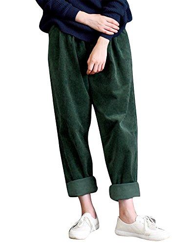 Elastic Waist Corduroy Pants - IDEALSANXUN Women's Retro Thick Corduroy Elastic Waist Loose Fit Casual Harem Pants Trousers (Medium, Green)