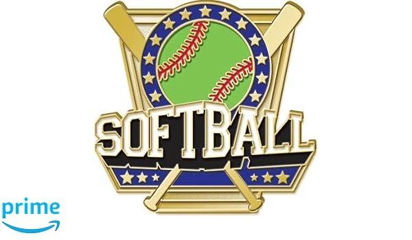 Crown Awards Softball Pin 1 Softball Bat Shield Enamel Lapel Pin Prime