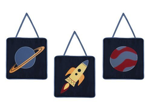 Sweet Jojo Designs Planet Saturn Rocket Ship Wall Hanging Accessories for Space Galaxy Bedding Set from Sweet Jojo Designs