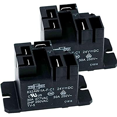 Song Chuan 832AW-1A-F-C1, 24VDC Relay, 240 VAC, 30A General Purpose Relay (Pack of 2): Industrial & Scientific