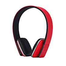 Jennyfly Over Ear Earbuds with Microphone,Noise Cancelling Bluetooth Headphones with Super HiFi for iPhone Samsung Cell Phone - Red