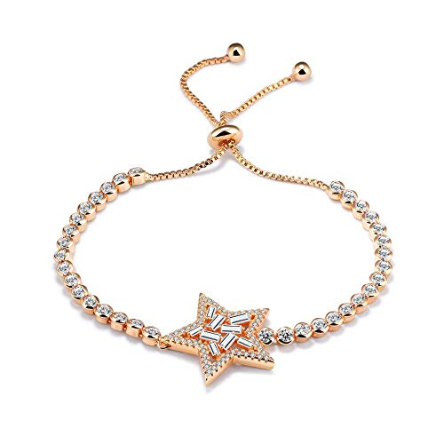 Diamonds Sweet Bracelet (ChuangYing Korean Version Fashion Platinum Bracelet Pentagram Diamond Bracelet Sweet Temperament Delicate Bracelet)