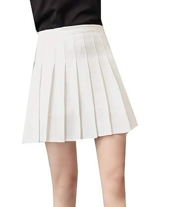 Andopa Falda plisada sólido imperio cintura suelta a cuadros mini ...