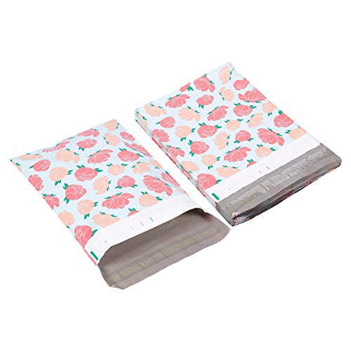 Poly Mailers 10x13-100-Piece Floral Printed Design Shipping Mailers - Shipping Envelopes Bags - Peony Flower Design