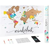 """Scratch Off Map of The World   Deluxe Watercolor Wanderlust Edition   XL Size 24""""x 36""""   Beautiful Wall Art   Perfect Travel Gift   Includes Scratch Off Tools and Memory Stickers   by Wander the World"""